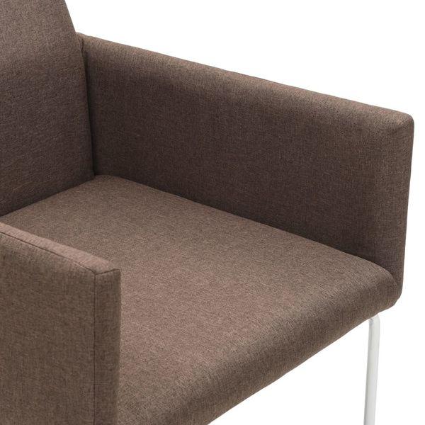 Krzesła Stołowe, 2 Szt., Brązowe, Tkanina zdjęcie 6