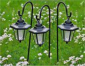Lampy solarne LED, 3 sztuki w kształcie latarni, zestaw