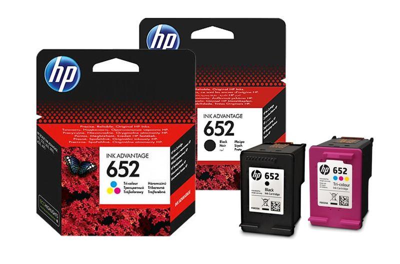 2 Tusze HP 652 F6V24AE,F6V25AE Oryginale HP czarny + kolor  24H zdjęcie 1