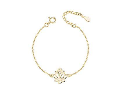 Delikatna pozłacana srebrna bransoletka gwiazd celebrytka kwiat lotosu flower srebro 925 Z1495B_G