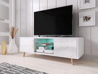 Nowoczesna szafka RTV DOMI 1 połysk z LED w stylu skandynawskim