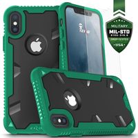 Zizo Proton Case - Pancerne etui iPhone X ze szkłem na ekran (zielony/czarny)