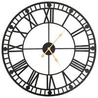 Lumarko Zegar ścienny vintage z mechanizmem kwarcowym, metal, 60cm, XXL