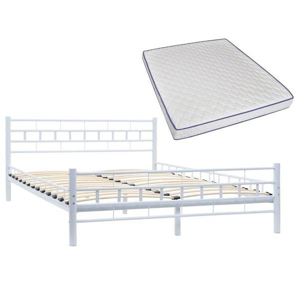 Łóżko Z Materacem Memory, Białe, Metalowe, 140X200 Cm zdjęcie 2