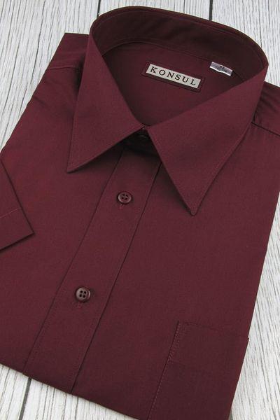 Koszula Męska Konsul gładka bordowa w kroju REGULAR na  hg4LP