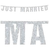 Baner JUST MARRIED dekoracja ozdoba na ślub 1,7 m