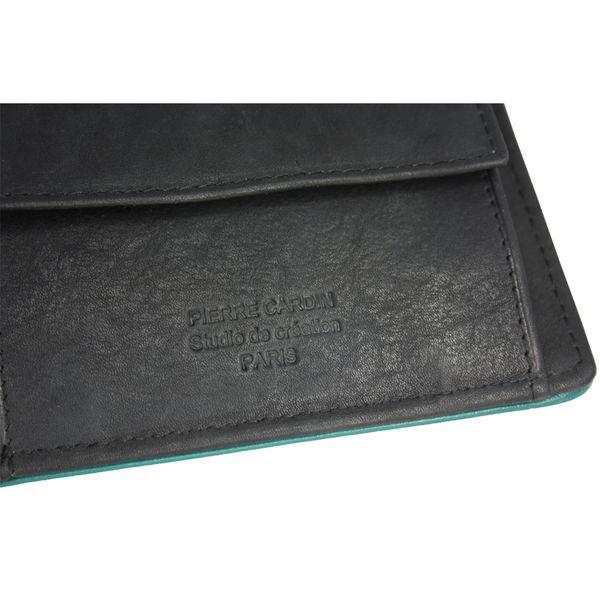 e15255ce00f5b Poziomy męski portfel Pierre Cardin, czarny z zieloną obwódką • Arena.pl