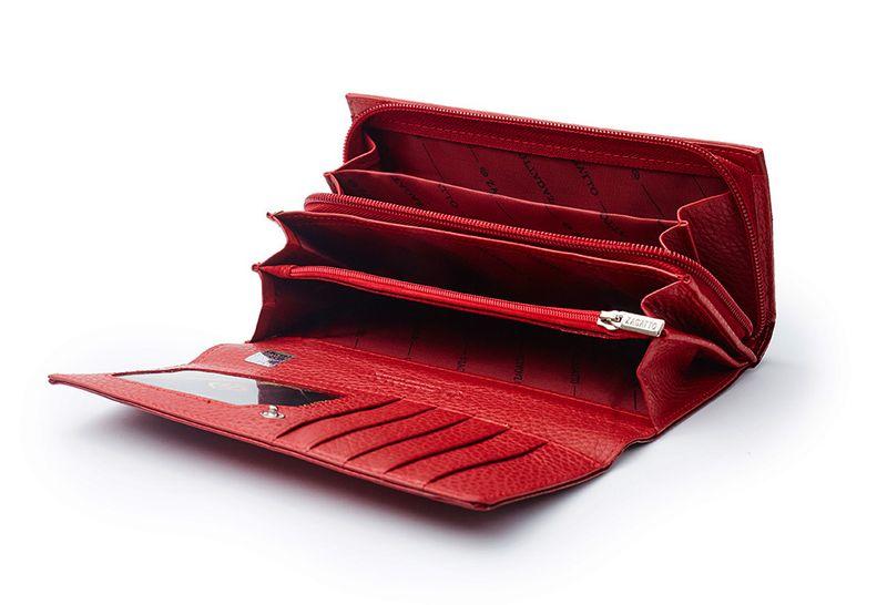 Czerwony skórzany portfel na suwak Zagatto ZG-55288-RS zdjęcie 3