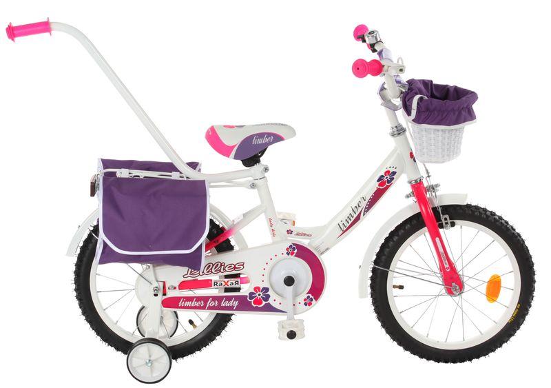 ROWEREK Lillies 16 Limber dla dziewczynki miejski Rower + kosz + sakwy zdjęcie 1