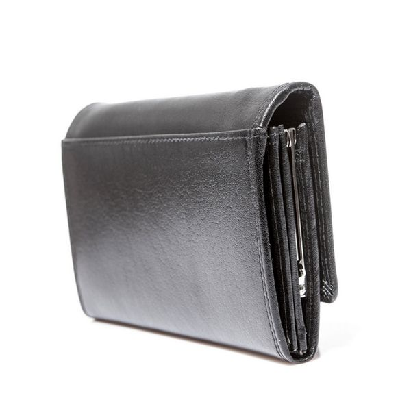 Czarny damski portfel elegancki DUŻY na bigiel skóra naturalna zdjęcie 5