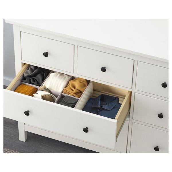 Modernistyczne IKEA HEMNES Komoda, 8 szuflad, biała bejca • Arena.pl OK05