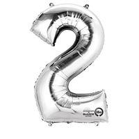 Balon foliowy Srebrny cyfra 2 (83 cm)
