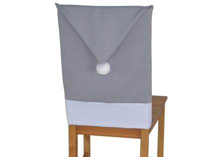 Pokrowiec na krzesło czapka mikołaja, matowy, szary