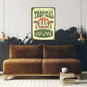 Wydruk na metalu, Retro – tropikalny bar 40x60 zdjęcie 3
