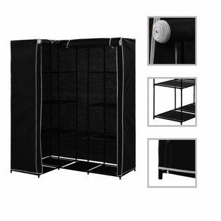 Szafa narożna, czarna, 130 x 87 x 169 cm