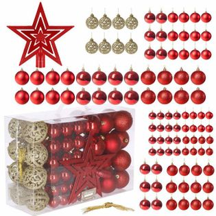 Bombki choinkowe 100 szt. ozdoby świąteczne zestaw 6/4/3 cm czerwone