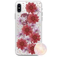 PURO Glam Hippie Chic Cover - Etui iPhone Xs / X (prawdziwe płatki kwiatów czerwone)