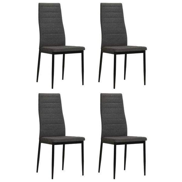 Krzesło Krzesła Do Jadalni Tapicerowane Tkaniną 4 Sztuki Szare