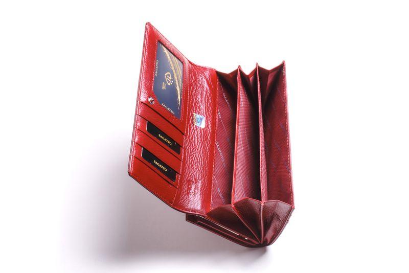 Duży portfel skórzany damski Zagatto czerwony liście RFID ZG-150 Leaf zdjęcie 6
