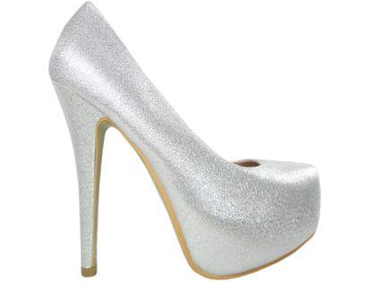Srebrne ślubne szpilki na platformie buty damskie 35