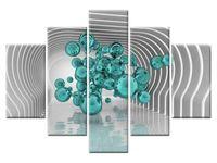 Kule w futurystycznym pokoju 3D turkus 5H 150x105 do salonu GRATISY