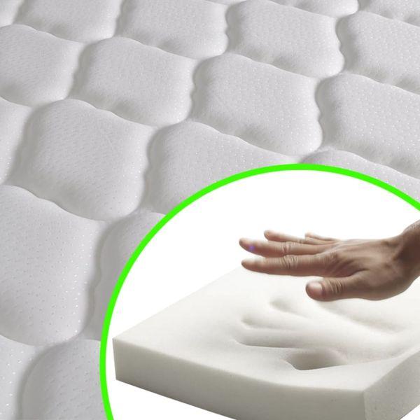 Łóżko z materacem z pianką memory, 140x200 cm, sosnowe, białe zdjęcie 3