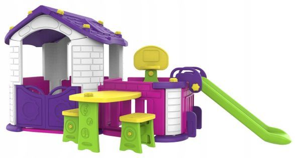 Domek ogrodowy dla dzieci zjeżdżalnia ogródek 4w1
