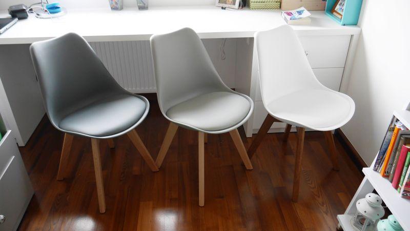 Nowoczesne krzesło JASNOSZARE/BUK skandynawskie DSW RETRO KRIS LUGANO zdjęcie 5