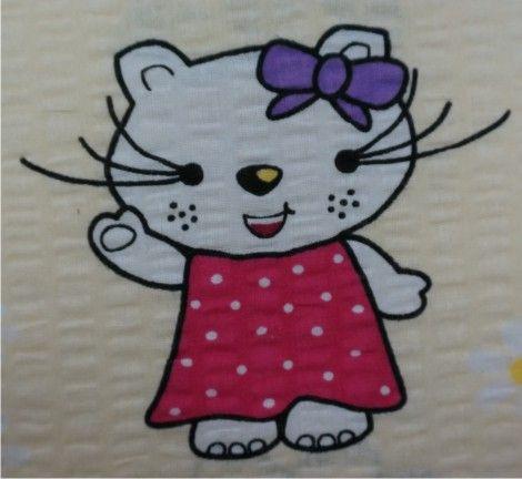 Pościel z kory 160x200 wzór Hello Kitty kremowa zdjęcie 2