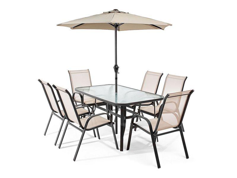 Meble ogrodowe Soverato 6 krzeseł parasol - zestaw zdjęcie 1