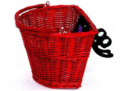 Koszyk rowerowy na klip - wiklinowy - czerwony