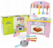 Drewniana Kuchnia Dla Dzieci z Akcesoriami otwierany piekarnik U46 zdjęcie 14