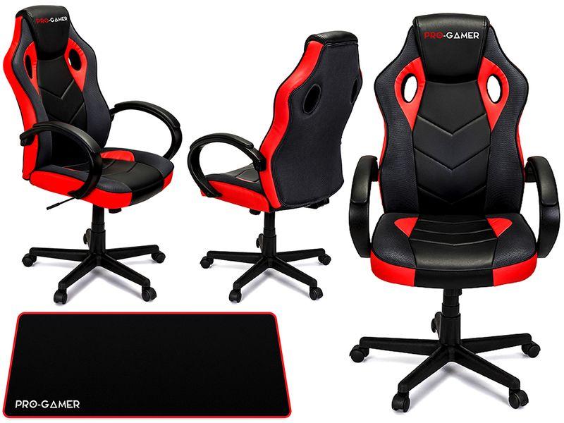 Fotel obrotowy gamingowy KUBEŁKOWY dla gracza PAGANI PRO-GAMER cz zdjęcie 1