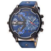 Zegarek męski, dwa czasy, datownik, 3 kolory, duży, wodoszczelny