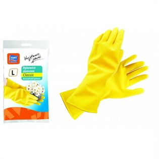 Rękawice domowe lateksowe CLASSIC rozm. L żółte 1 para flokowane wewnątrz