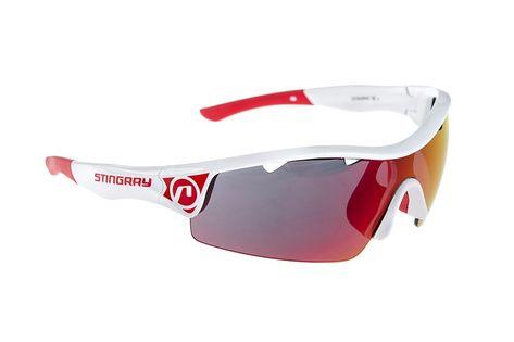 Okulary ACCENT Stingray biało czerwone  soczeweki PC czerwone