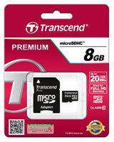 Transcend Karta pamięci microSDHC 8GB Class10 20/17 MB/s + adapter
