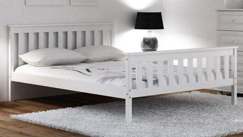łóżko Drewniane Alion 120 X 200 Białe Stelaż