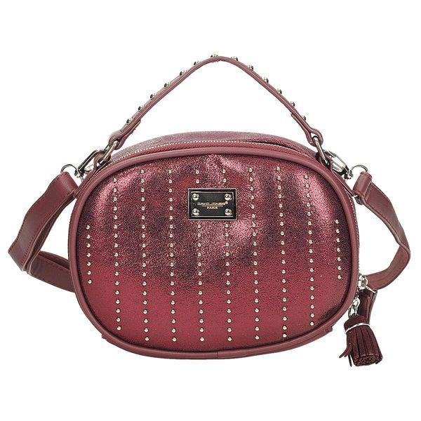 3a522dd7d4de5 Lekko połyskująca torebka listonoszka w kolorze bordowym DAVID JONES CM  3994 zdjęcie 1