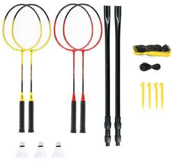 Zestaw rakiet do badmintona 4 sztuki + lotki z piór 3 sztuki + siatka 600x60cm + pokrowiec Nils NRZ264 aluminium