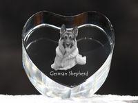 Owczarek niemiecki - kryształowe serce z wizerunkiem psa, dekoracja, prezent, kolekcja!