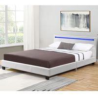 TAPICEROWANE ŁÓŻKO Z OŚWIETLENIEM LED - (120X200) Rozmiar łóżka/materaca - 120x200, Kolor - Biały