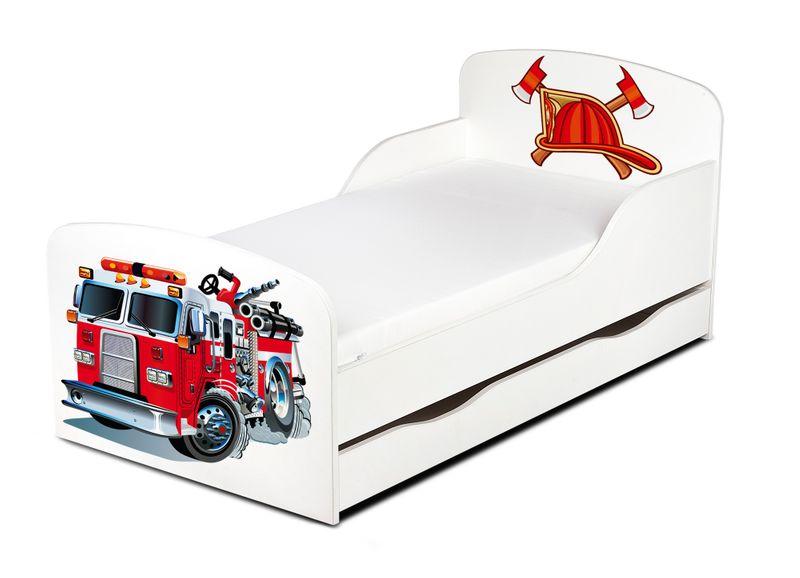 Łóżko dla dzieci 140x70 z materacem i szufladą Strażak 102/248001S zdjęcie 1