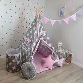 Namiot Tipi Teepee Dla Dziecka 120x120cm Big Stars Z Różem-ZESTAW MAX