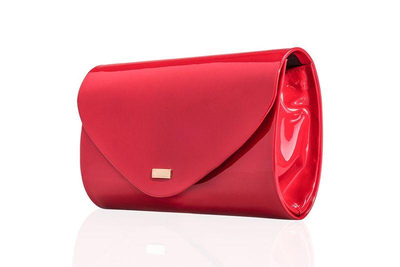0795caf55b65f Czerwona damska lakierowana kopertówka stylowa torebka wieczorowa Felice  zdjęcie 1