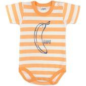"""Pinokio Body """"Garcon"""" krótki rękaw pomarańczowe paski Rozmiar - 68"""