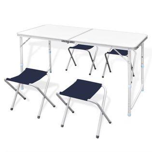 Składany stół kempingowy 4 krzesła i regulowana wysokość 120 x 60 cm GXP-680211