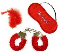 Kajdanki z futerkiem czerwone piórka oraz maseczka