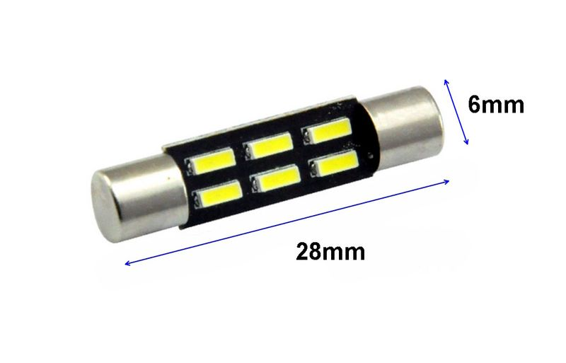 ŻARÓWKA LED T6.3, TY-T6, rurkowa 12V 1.2W CANBUS 28mm 96lm na Arena.pl