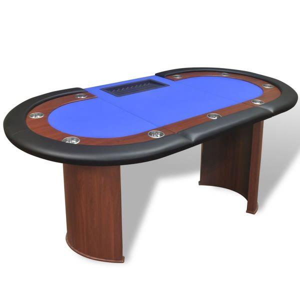 Stół do pokera dla 10 graczy z tacą na żetony, niebieski zdjęcie 4